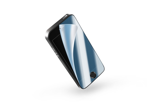 Black phone protection film on screen.