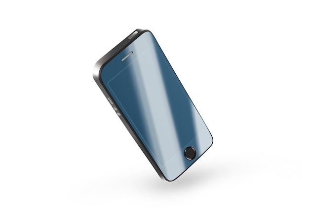 Black phone protection glass on screen isolated