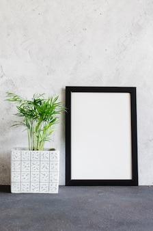 블랙 포토 프레임과 콘크리트 냄비에 아름다운 식물. 스칸디나비아 스타일의 객실 내부입니다.