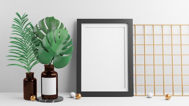 검은색 사진 프레임과 몬스테라 식물은 흰색 바탕에 금색 공이 있는 갈색 병 장식에 남습니다. 3d 그림 렌더링 이미지입니다.