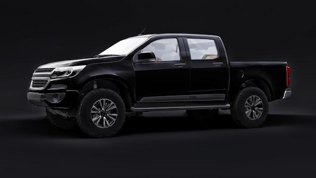 검정색 배경에 검정색 픽업 자동차입니다. 3d 렌더링.