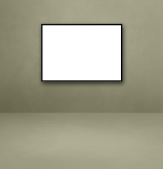 Black picture frame hanging on a grey wall. blank mockup template