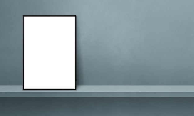 Black picture frame leaning on a grey shelf. 3d illustration. blank mockup template. horizontal banner