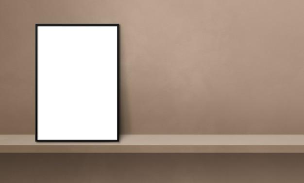 갈색 선반에 기대어 검정 액자입니다. 3d 그림입니다. 빈 모형 템플릿입니다. 가로 배너