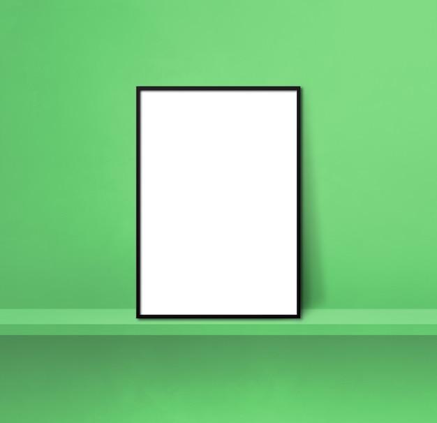 녹색 선반에 기대어 검은 액자. 3d 그림입니다. 빈 모형 템플릿입니다. 정사각형 배경