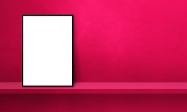 핑크 선반에 기대어 블랙 액자입니다. 3d 그림입니다. 빈 모형 템플릿입니다. 가로 배너