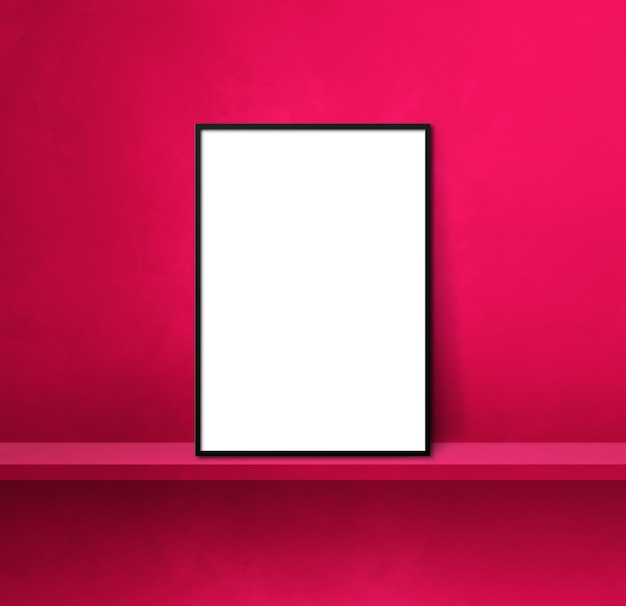 핑크 선반에 기대어 블랙 액자입니다. 3d 그림입니다. 빈 모형 템플릿입니다. 정사각형 배경
