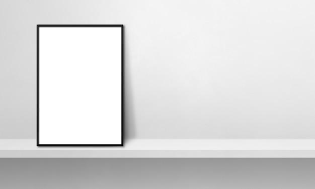 흰색 선반에 기대어 검은 액자. 3d 그림입니다. 빈 모형 템플릿입니다. 가로 배너