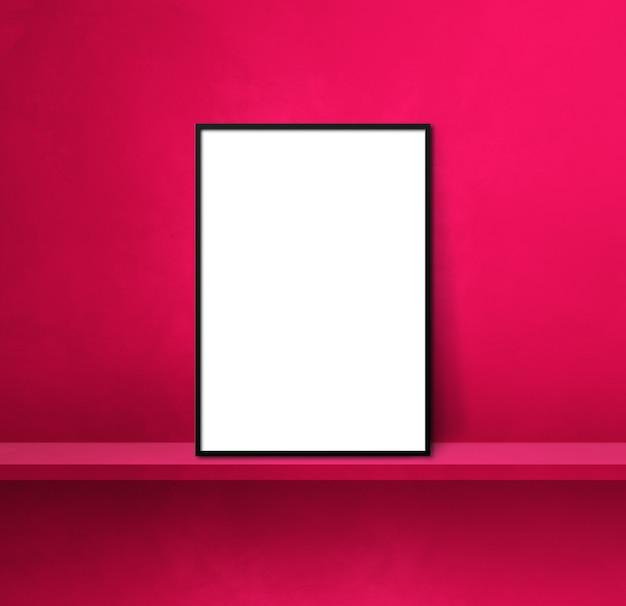 Black picture frame leaning on a pink shelf. 3d illustration. blank mockup template. square background