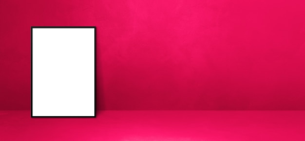 Black picture frame leaning on a pink wall. blank mockup template. horizontal banner