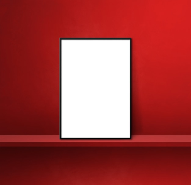 Black picture frame leaning on a red shelf. 3d illustration. blank mockup template. square background