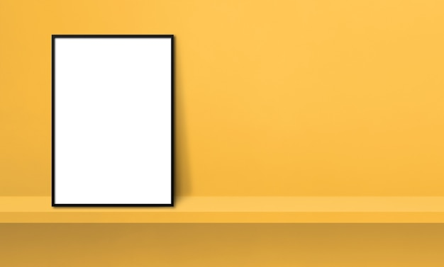Black picture frame leaning on a yellow shelf. 3d illustration. blank mockup template. horizontal banner