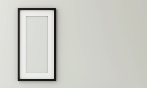 Black picture frame on the wall have space on right side. 3d render.
