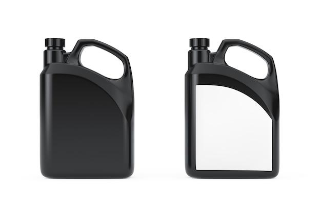 흰색 바탕에 빈 공간 또는 당신의 디자인이 있는 검은색 플라스틱 빈 컨테이너 용기. 3d 렌더링