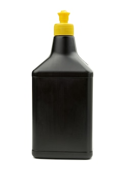 Black plastic bottle with detergent for washing dishes and things at home