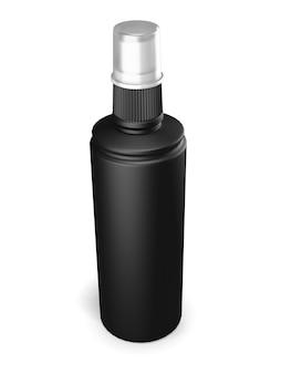 Black plastic bottle with spray on white. 3d render illustration.