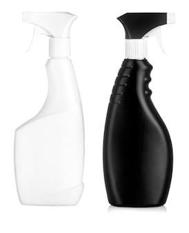 クリーニング製品と花の黒いペットボトル。白い背景で隔離