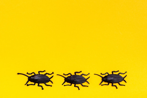 Black plastic cockroaches on a yellow cardboard background. ready halloween illustration. copy space