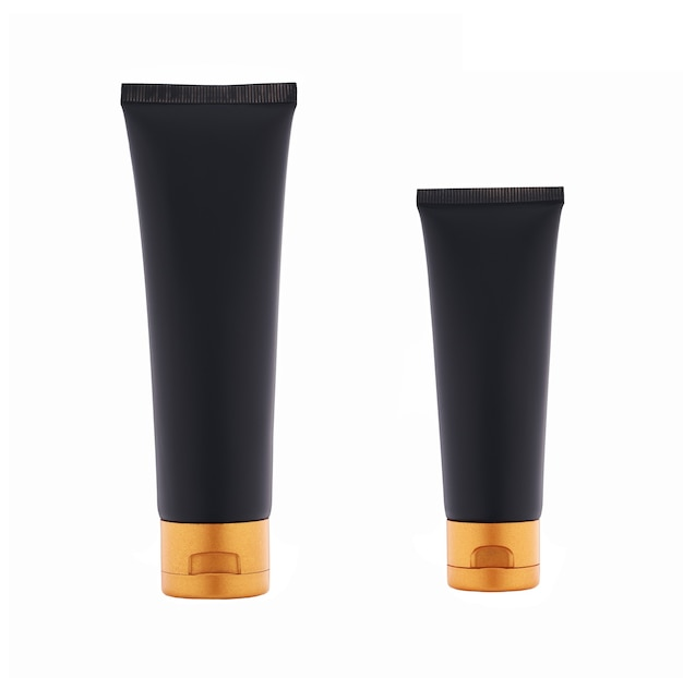 Черная пластиковая трубка с золотой крышкой, увлажняющий и питательный крем или гель премиум-класса, изолированные на белом фоне.