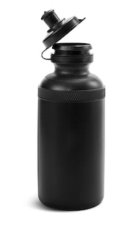 Black plastic water bottle for athlete isolated on white background