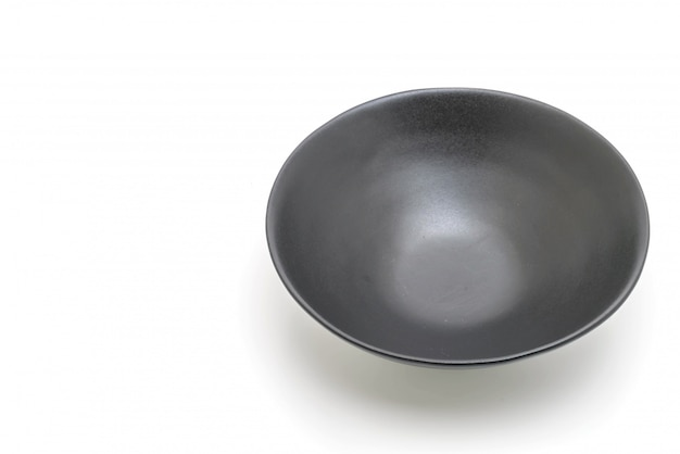 Black plate and bowl isolated on white background