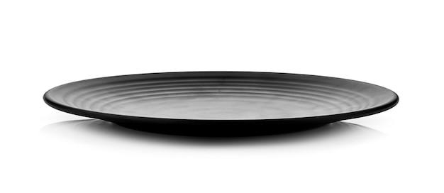 Черная тарелка, изолированные на белом фоне
