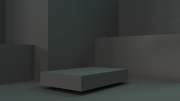 A black podium for advertising the product. 3d rendering. dark scene with a dark podium