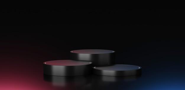 검정색 연단 배경 스탠드 또는 빈 무대 플랫폼 또는 프레젠테이션 제품 전시의 최소한의 파스텔 모던 쇼케이스 받침대는 스튜디오 템플릿 장면이 있는 코스메틱 배경을 표시합니다. 3d 렌더링.