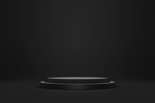 Black podium or pedestal display on dark background with cylinder stand concept.