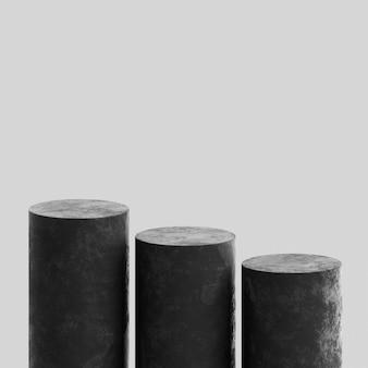 블랙 연단 무대 스탠드 콘크리트 흰색 프리미엄 사진