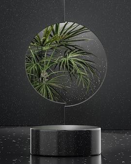 제품 배치 3d 렌더를 위해 열대 나무 배경에 검은 연단 무대 스탠드