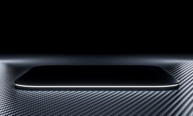 Черный подиум с подсветкой на фоне углеродного волокна. 3d визуализация.