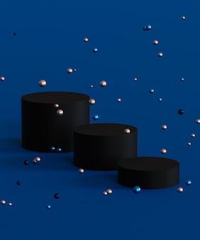 파란색 배경에 반짝이는 구체가 있는 제품 디스플레이 또는 광고용 검정 연단 또는 받침대, 3d 최소 렌더