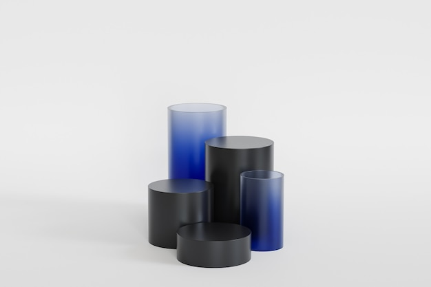 흰색 배경에 파란색 유리가 있는 제품 또는 광고용 검정 연단 또는 받침대, 3d 렌더