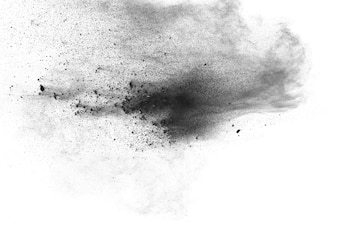 Black powder dust explosion against a white background.