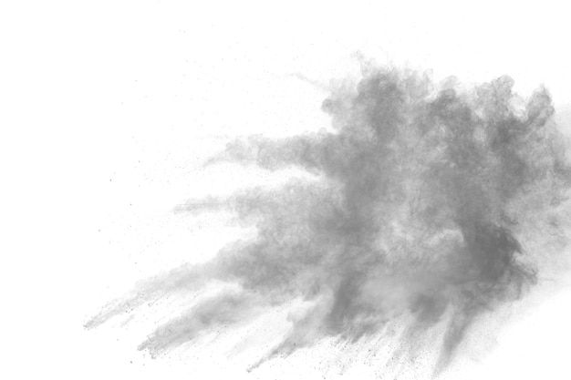 Black powder explosion against white background.