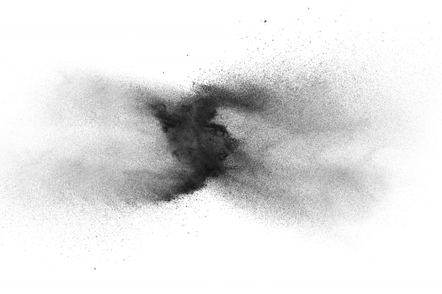 Black powder explosion on white background.