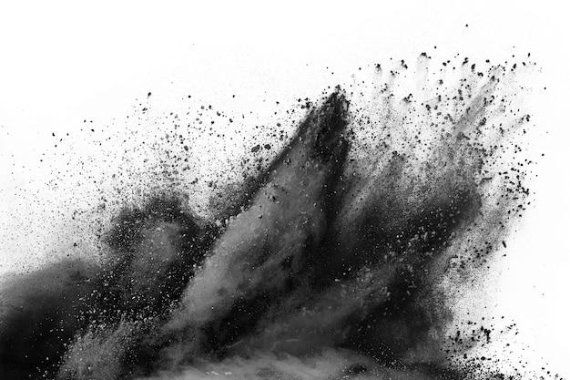 Black powder explosion on white  background