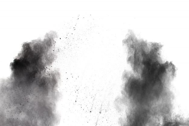 Black powder explosion on white