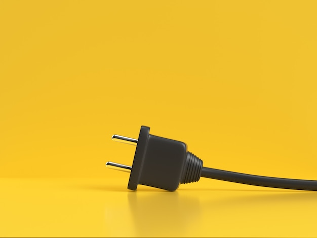 Black power cable plug 3d rendering yellow background