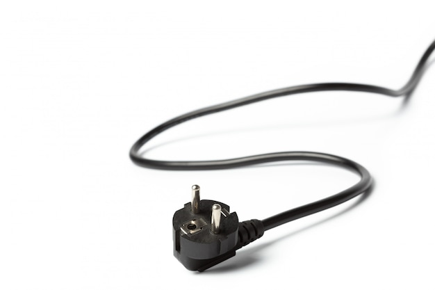 Black power cable with plug and socket isolated on white