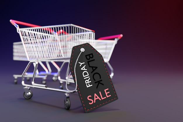 Black price tag is leaning against a shopping cart in a dark background. closeup and copy space on the right. 3d rendering illustration.