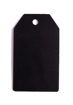 Black price tag isolated on white background