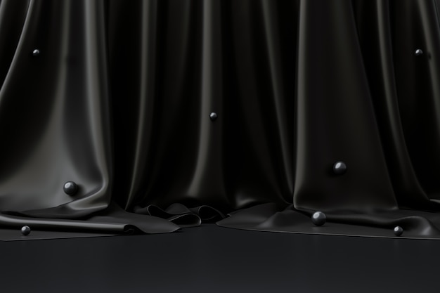 Black product background room on dark advertising display with luxury fabric backdrops. 3d rendering.