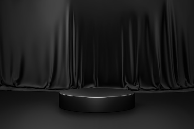 Black product background room and podium stand on dark curtain scene display with luxury fabric backdrops.