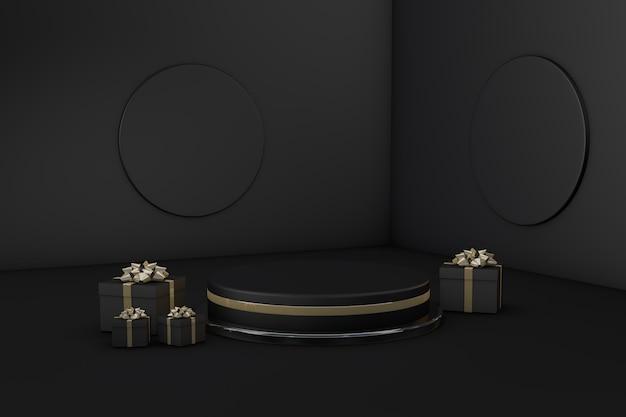 ブラックフライデーの3dレンダリング用の黒い製品の背景スタンドまたは表彰台の台座