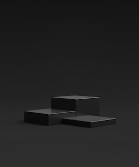 Black product background stand or podium pedestal on advertising display with blank backdrops. 3d rendering.