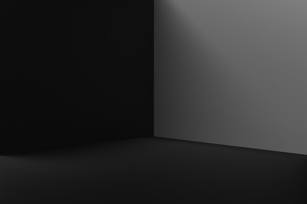 Black product background stand or podium pedestal on advertising room display with blank backdrops. 3d rendering.
