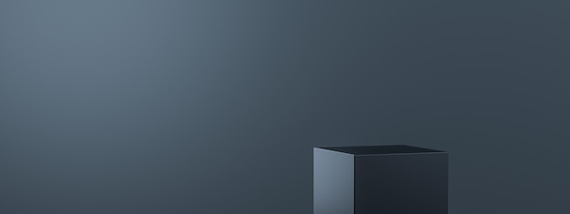 Black product background stand or podium pedestal on empty display with blank backdrops.