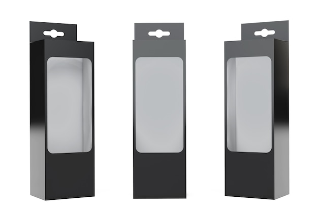 白い背景にハングスロットと透明フィルムウィンドウが付いた黒い製品パッケージボックス。 3dレンダリング。
